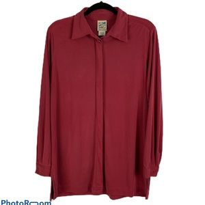 TravelSmith Button Down Maroon Blouse